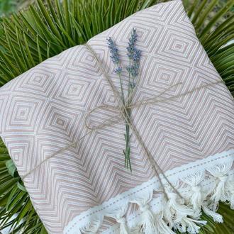 Плед 225*215см, плед для дома, красивое покрывало, накидка на кровать, одеяло большоеХлопок 100%