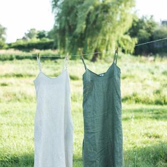 Сарафан на тонких бретелях миди из льна, льняной сарафан, сарафан лен, летнее платье