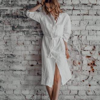 Платье-рубашка из льна с канатным поясом миди длины, платье льняное, платье на лето, летнее платье