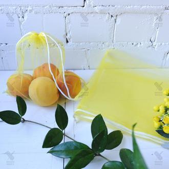 Эко мешочек из сетки жёлтый, эко торбочка, еко пакет для продуктов, еко мішок із сітки