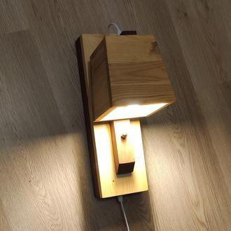 Светильник настенный лофт. Бра деревянная для спальни детской чтения