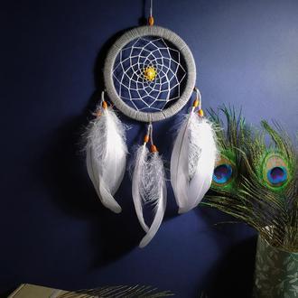 Натуральний ловець снов в спальню. Оригінальний подарунок ручної роботи. Декор в дитячу