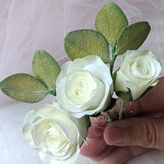 Шпильки для волос с розами цвета айвори