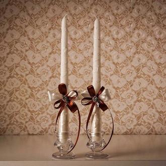 Пара свічок  із шоколадними стрічками. Декор на замовлення.