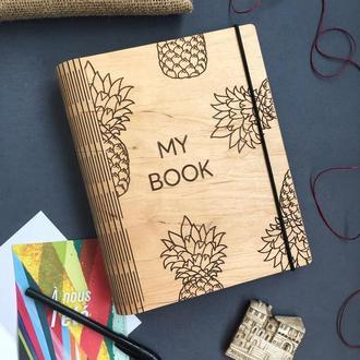 Блокнот из дерева. Скетчбук. Ежедневник. Планер. Блокнот для путешествий.