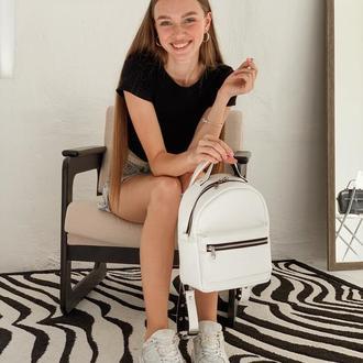 Белый маленький рюкзак-трансформер с длинными ремешками