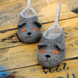 Валяные тапочки кошки Валяные тапочки тапки Шотландские вислоухие коты