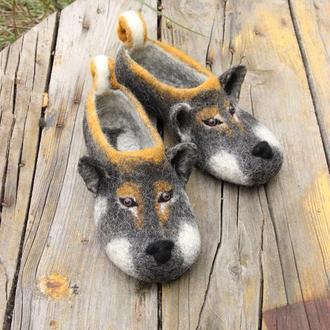 Валяные тапочки собачки Валяные тапочки тапки собаки Шикоку
