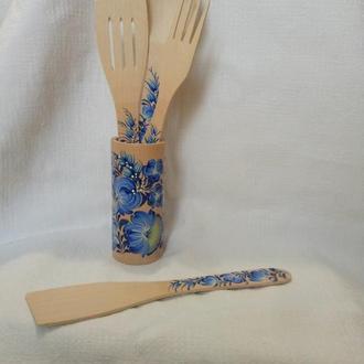 Деревянный подарочный набор для кухни петриковская роспись из 5 предметов