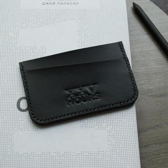 Шкіряний гаманець картхолдер (Чорний)