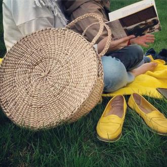 Сумка соломенная круглая солом'яна #beige кругла велика сумка