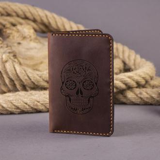 Кожаная обложка для паспорта Skull (для пропуска, документов, ID карты, прав) - Коричневая