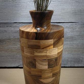 Деревянная сегментная   ваза для сухоцветов,декора  из грецкого ореха В 03