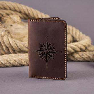 Кожаная обложка для паспорта Wind Rose (для пропуска, документов, ID карты, прав) - Коричневая