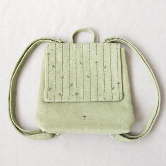 Оливковый женский рюкзак из канвас с лианами