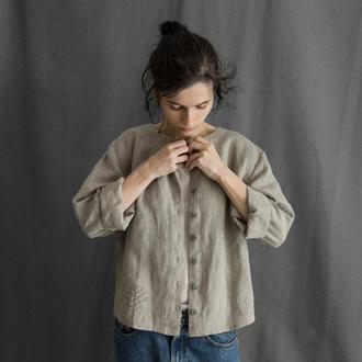 Блуза-жакет из натурального льна с ручной вышивкой