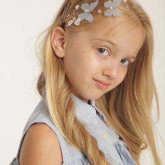 Шпилька в прическу с бабочками, голубое украшение в волосы
