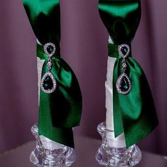 Вінчальні свічки у смарагдовому кольорі. Декор свічок на замовлення