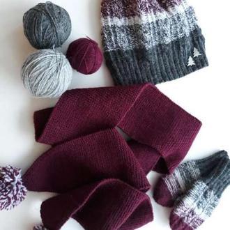 Вязаный комплект: шапка, шарф и варежки для девочки 1,5-2 года.