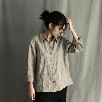 Классическая льняная рубашка с ручной вышивкой