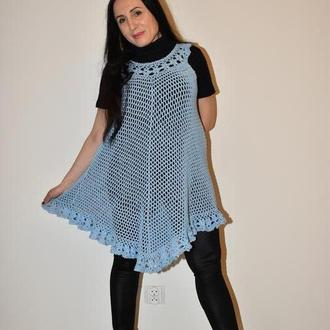 Платье женское вязаное голубое, хлопковое. Платье сеточкой с цветочным воланом