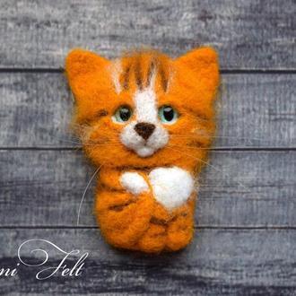 Брошь котёнок Рыжик