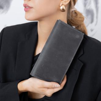 Многофункциональное женское портмоне ручной работы арт. 204 темно-серого цвета из натуральной кожи