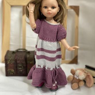 Вязаное платье Миди в комплекте с туфельками для куклы Паола Рейна 32 см