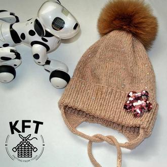 Вязаная зимняя шапка на девочку