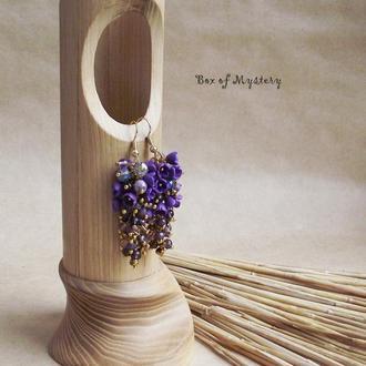 Цветочные серьги. Violet