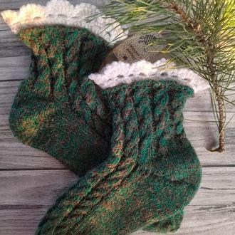 Вовняні шкарпетки з ажурною оборкою - Ідея для подарунка