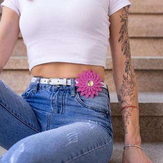 Женский ремень Saint Shalih с розовым цветком