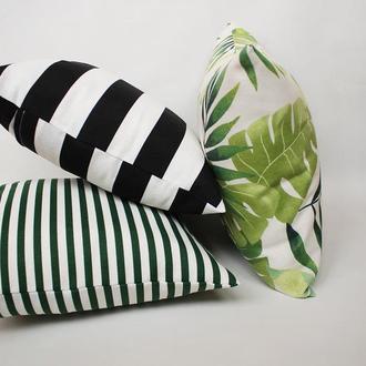 Декоративная подушка листва, набор декоративных подушек 3шт, подушка зеленая, подарок на новоселье