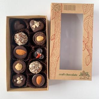 Набор шоколадных конфет на кэробе ручной работы без сахара ТМ Afrodiziak 10 шт
