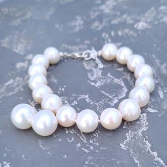 Комплект з великих натуральних перлів браслет сережки у сріблі