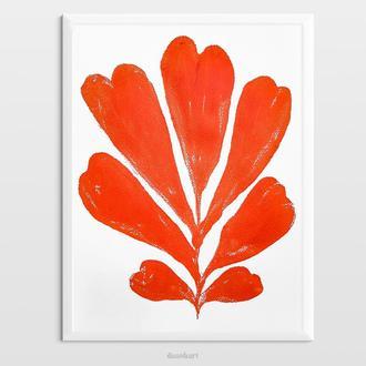 Інтер'єрна картина(монотипія) «Червона рослина №1» в стилі ботаніка