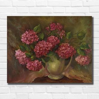 """Картина маслом """"Розовые цветы"""" 35×45 см, холст на подрамнике, масло"""