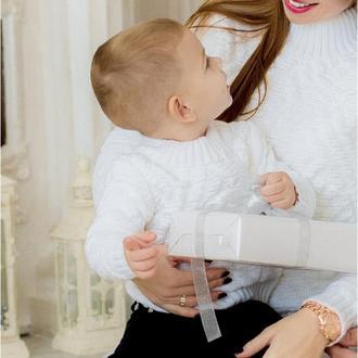 Белый детский джемпер Фемели лук на фотосессию на Новый год Парные кофты