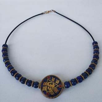 Кольє з Тибетським амулетом, натуральний камінь лазурит