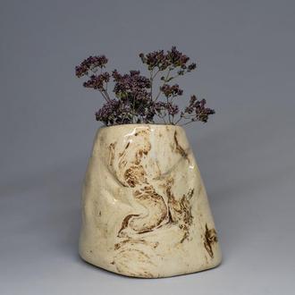 Керамическая ваза, Ваза ваби-саби, Авторская ваза, Ваза в технике нерикоми, Минималистичная ваза