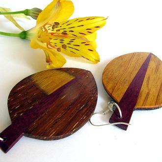 серьги из дерева , деревянные серьги