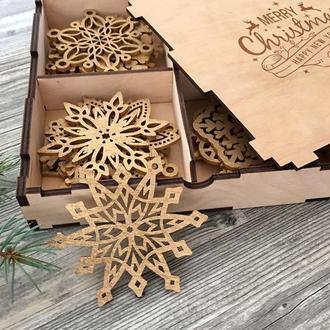 Набор деревянных снежинок (20 шт)