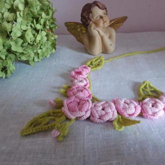 Вязаное колье Розы бохо, ирландское кружево