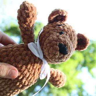 Плюшевий ведмедик в'язаний. В'язана дитяча іграшка