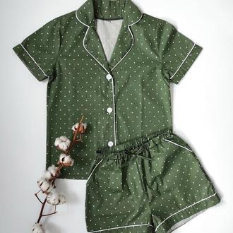 Пижама рубашка и шорты с кантом в мелкий горошек