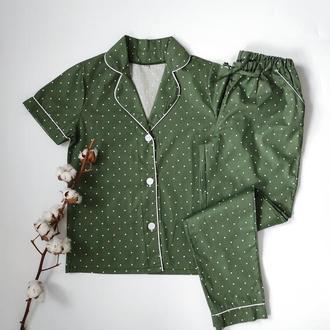 Пижама с кантом штаны и рубашка в горох