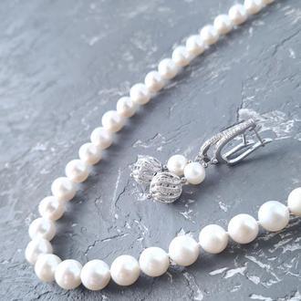 Комплект прикрас з натуральних перлів намисто і сережки № 333