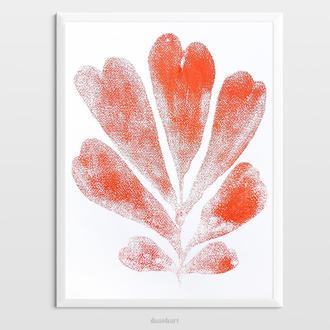 Інтер'єрна картина(монотипія) «Червона рослина №2» в стилі ботаніка