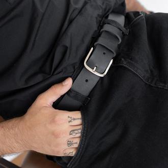 Прочный и стильный ремень ручной работы арт. 701 Rounded черного цвета из натуральной ременной кожи