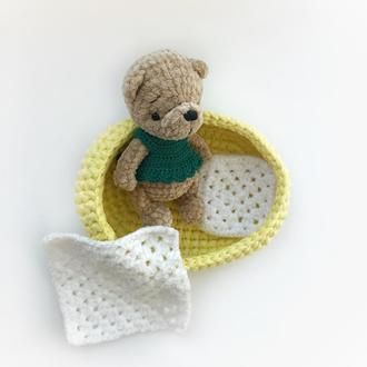 Плюшевый мишка в кроватке и платье маленькая игрушка для девочек
